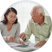 Elder couple discussing finances